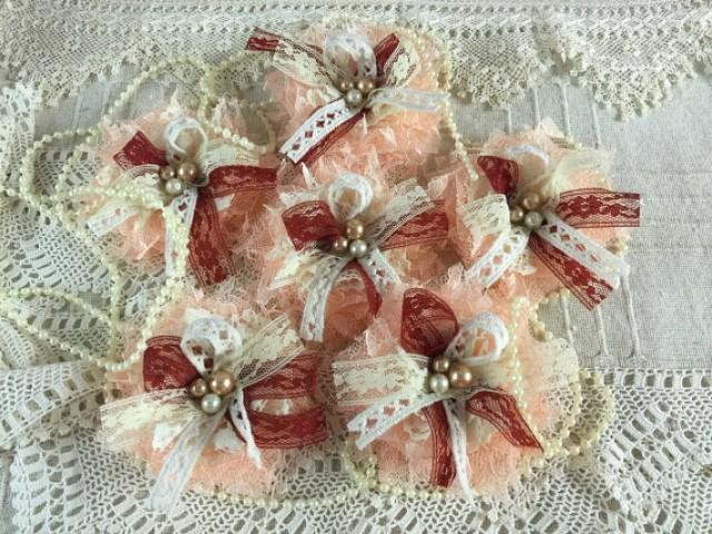 wedding photo - 6 shabby chic lace peach, ivory and burgundy color handmade flowers