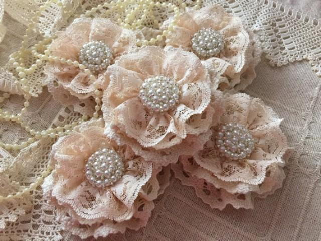 wedding photo - 5 shabby chic cotton lace handmade flowers