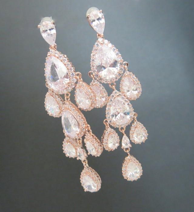 Rose Gold Chandelier Earrings, Rose Gold Bridal Earrings, Wedding ...
