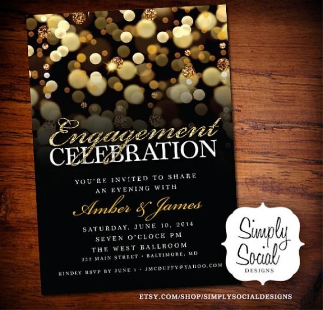 Engagement Party Invitation With Gold Glitter Bokeh Printable