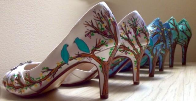 Blue Wedding Shoes , Tiffany Blue Shoes , Painted Birds ...
