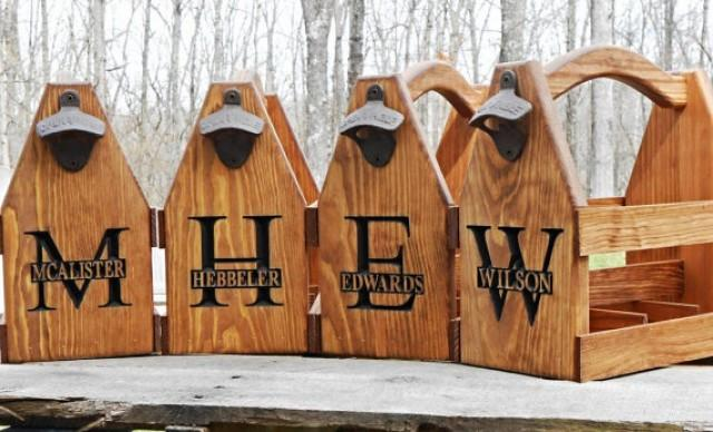 Small Gifts For Man Cave : Wooden beer tote personalized carrier six pack home