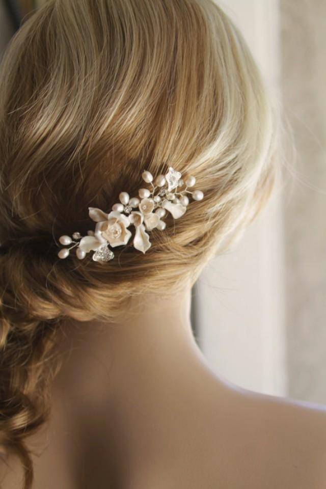 Wedding Hair Jewellery : Bridal hair comb wedding pearl