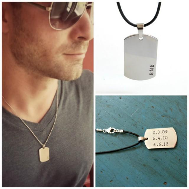 Mens Dog Tag Necklace Mens Jewelry Personalized Mens Gift ...