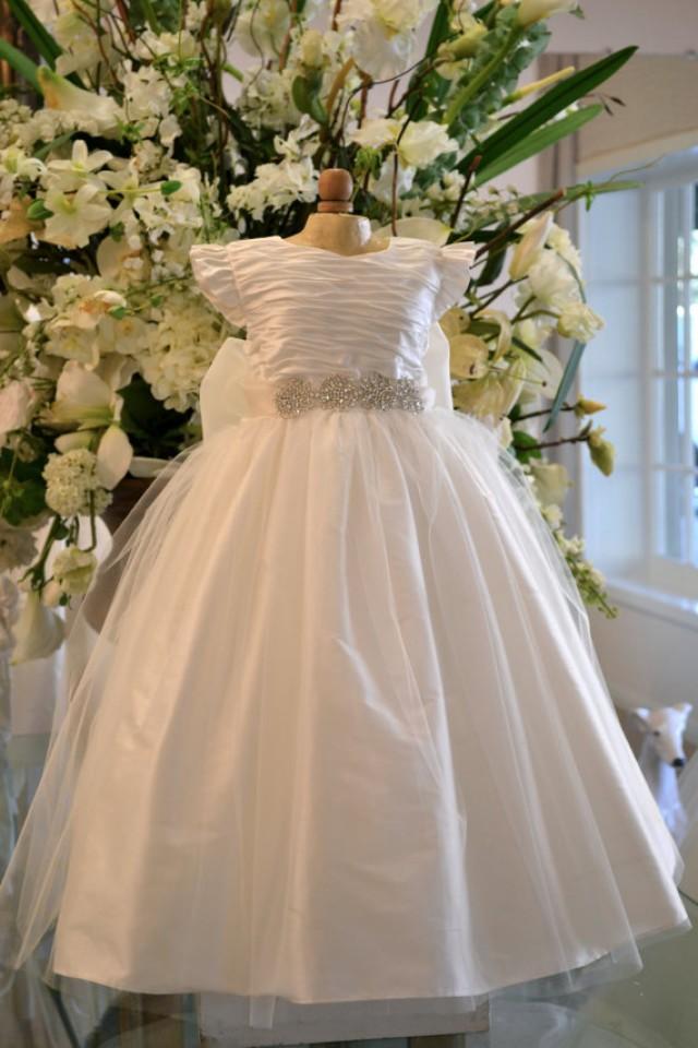 Christening dress baptism dress flower girl dress baby for Wedding dresses for newborns