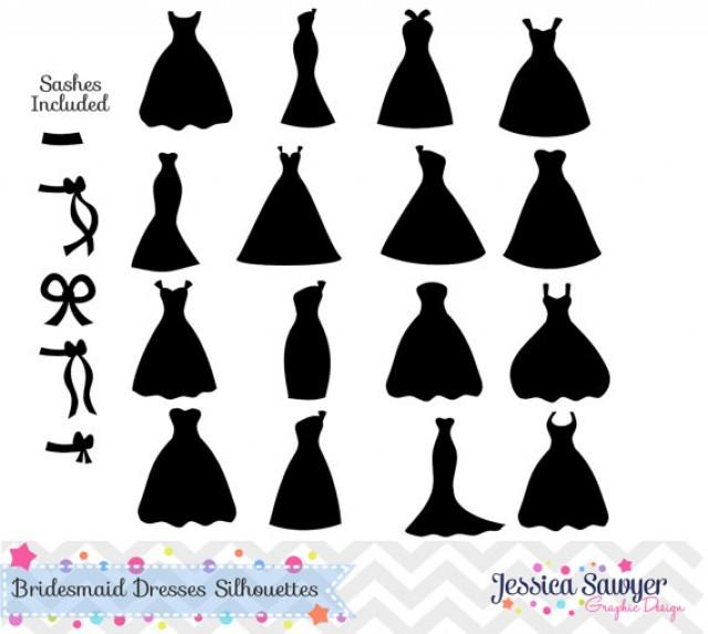 Instant Download Bridesmaid Dresses Silhouettes Clipart