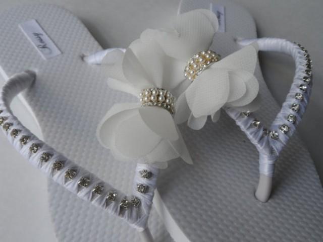 910d176f3a43a Bridal White Flip Flops   Chiffon Bow Rinestone wedding Flip Flops   Bridal  Sandals   bridesmaids Shoes .