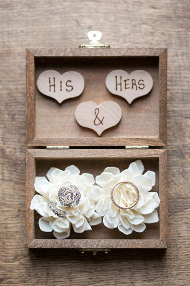 Ring Bearer Box - Shabby Chic Rustic Wedding Decor - Ring Bearer Pillow Alternative ...