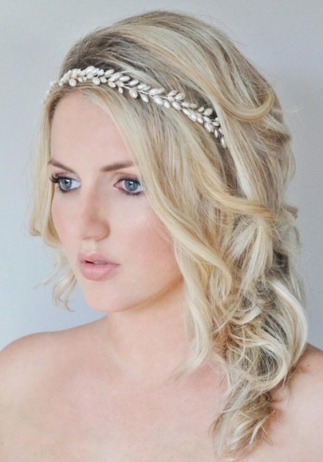 Bridal Hair Vine Pearl Bridal Wreath Grecian Bridal Halo Pearl Wedding Hair Piece Wedding ...