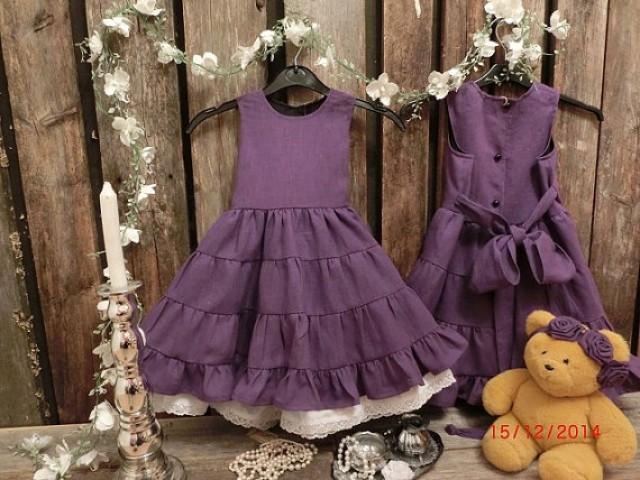 e40ce263a4 Toddler girl birthday dress. Plum purple flower girl dress. Girls linen  ruffle dress. Purple rustic flower girl dress