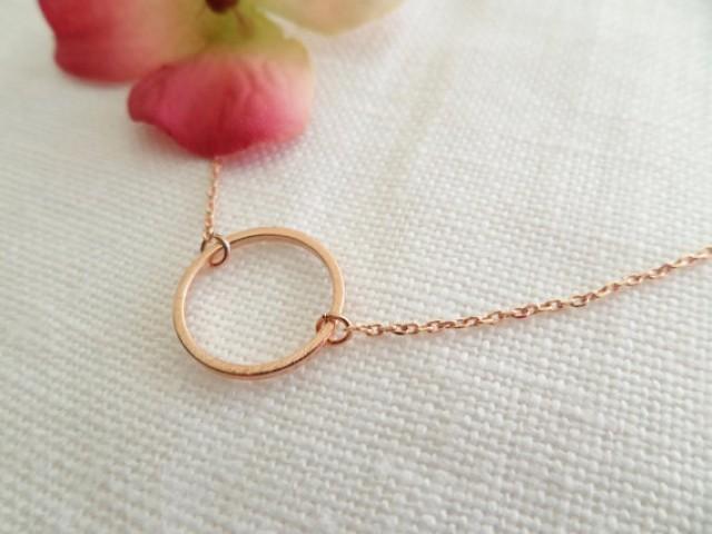 e20e3570e55ab8 Rose Gold Karma Infinity Eternity Circle Ring Necklace...dainty handmade  necklace, everyday, simple, birthday, wedding, bridesmaid jewelry