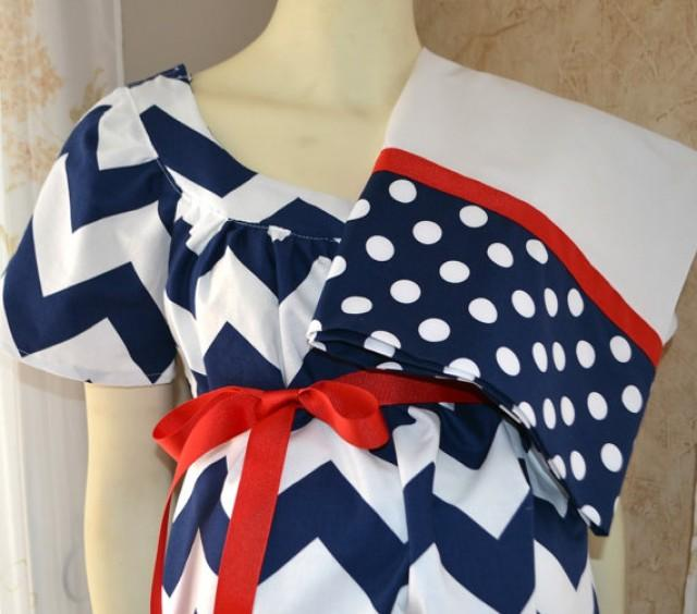 Trendy Maternity Hospital Gown And Pillowcase/Navy And White Chevron ...