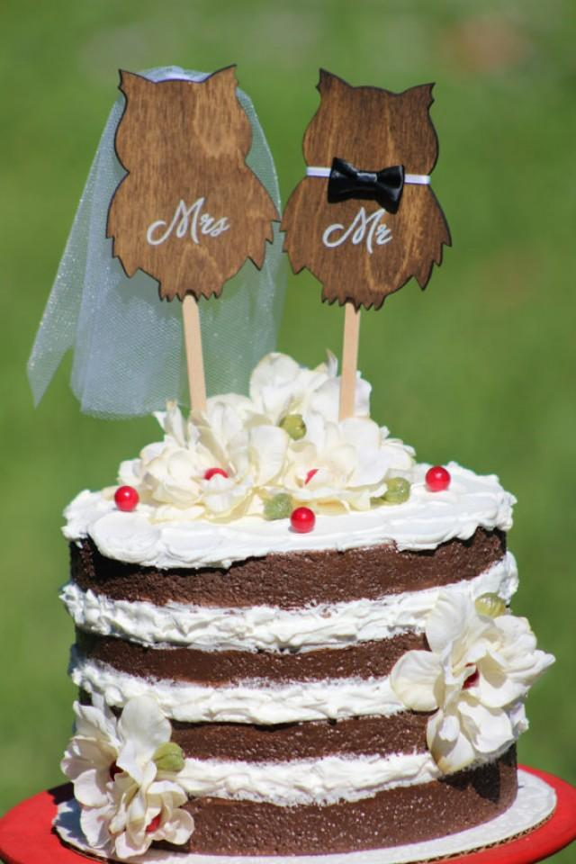 Owl wedding cake topper mr amp mrs rustic country chic wedding