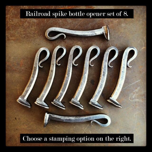 8 groomsmen gifts personalized railroad spike bottle openers