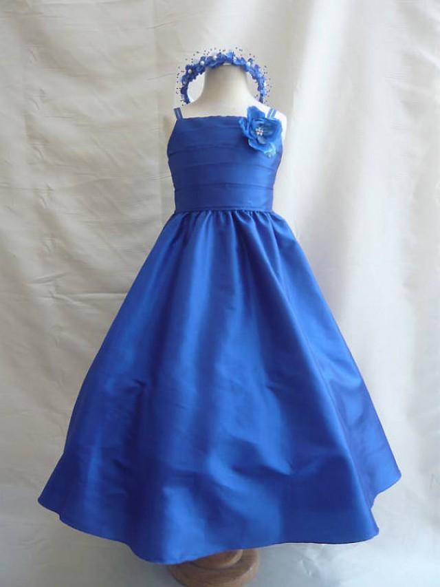 Flower girl dresses blue royal fd0sp7 wedding easter for Dresses for wedding for kids