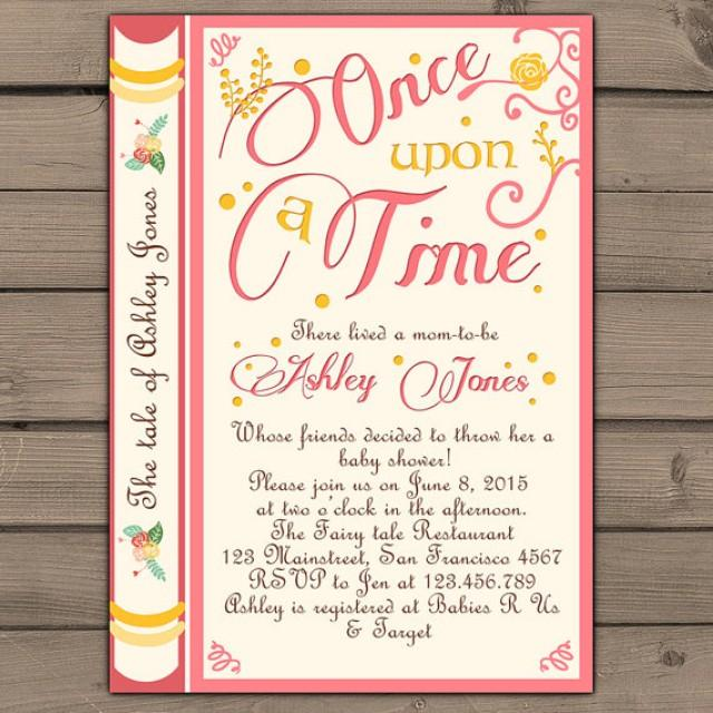 Once Upon A Time Baby Shower Invitation Shower Invite Pink Coral Yellow Fairy Tales Storybook ...