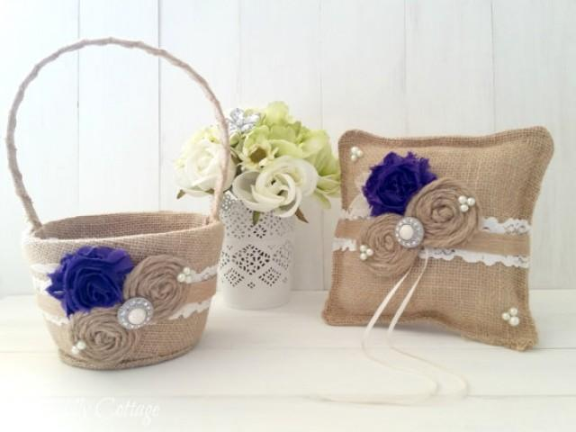 Flower Girl Baskets And Ring Pillows : Purple shabby ring bearer pillow and flower girl basket