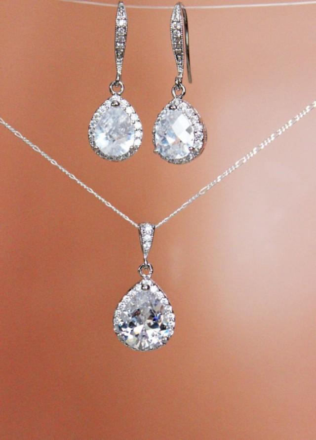 Cubic Zirconia Crystal Drop Wedding Earrings And Necklace