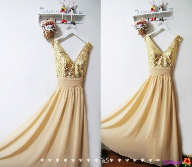 Gold Sequin Bridesmaid Dress,Gold Sparkly Evening Prom Dress,Long ...