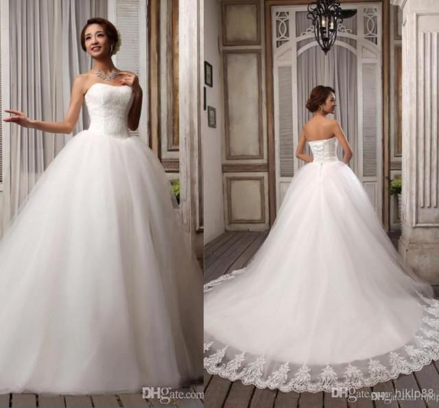 Hot sell elegant popular ribbons strapless white for Elegant ball gown wedding dresses