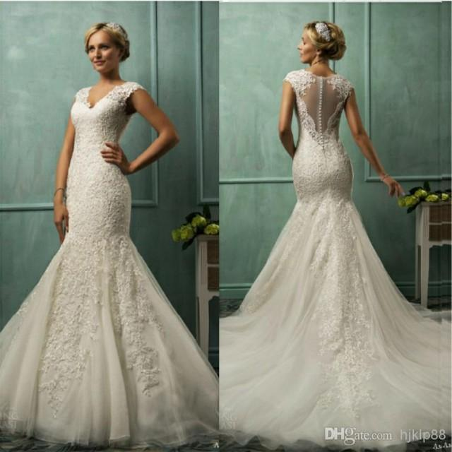 New Illusion Backless V Neck 2014 Mermaid Wedding Dresses Tulle Applique Pearls Sheer Chapel