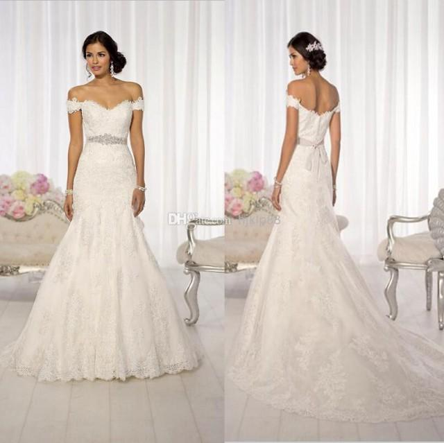 2014 new arrival sexy off shoulder lace mermaid wedding for Off the shoulders wedding dress