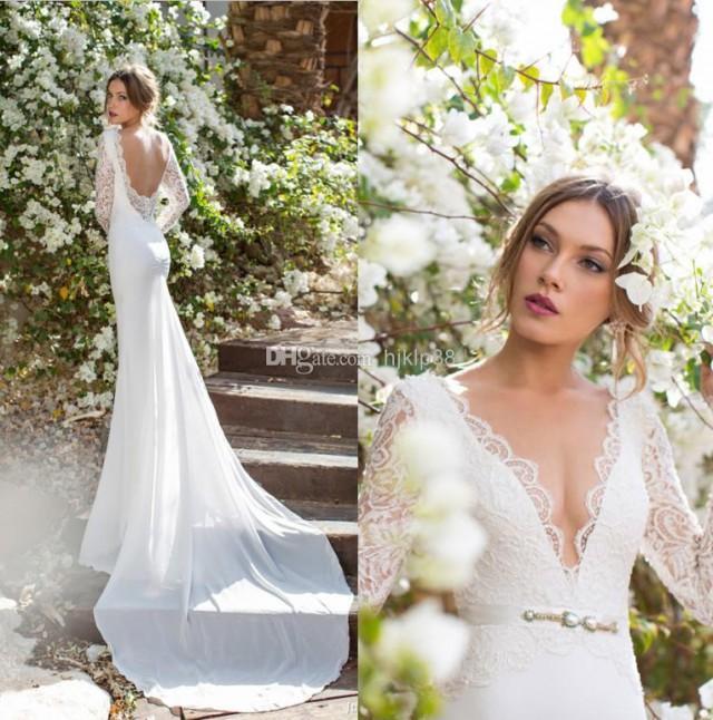 Beautiful 2014 new julie vino deep v neck backless mermaid for Lace v neck backless wedding dress
