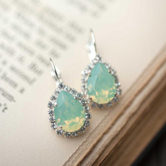 opal silver estate style vintage earrings wedding jewelry