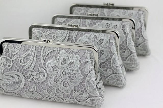 wedding photo - Grey Lace Bridesmaid Clutches / Lace Wedding Clutches / Wedding Gift / Bridal Clutch Set - Set of 5