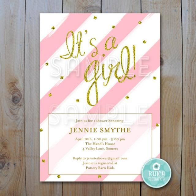 glitter baby shower invitation pink and gold glitter shower