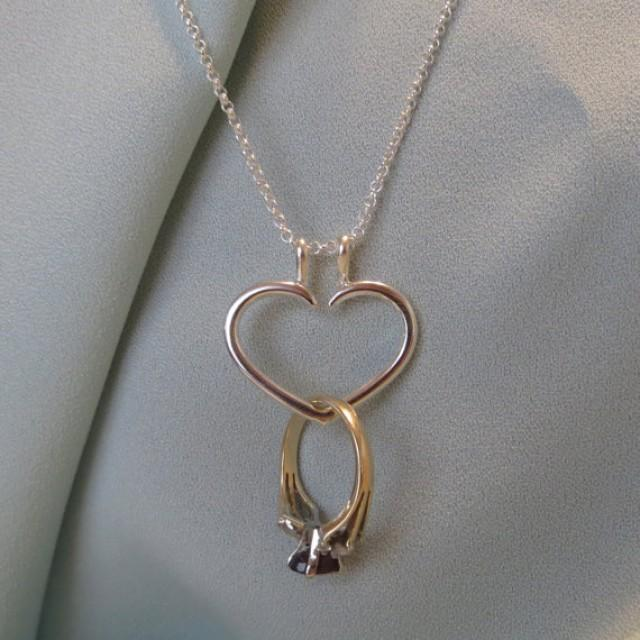 Heart engagement ring holder necklace charm pendant sterling silver heart engagement ring holder necklace charm pendant sterling silver heart necklace jjdljewelryart 2224870 weddbook aloadofball Gallery