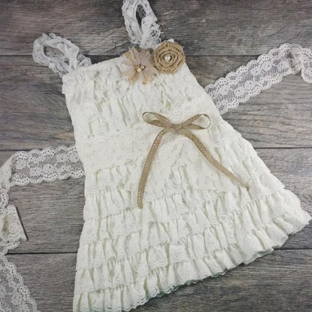 Rustic ruffle and lace flower girl dress country for Country wedding flower girl dresses
