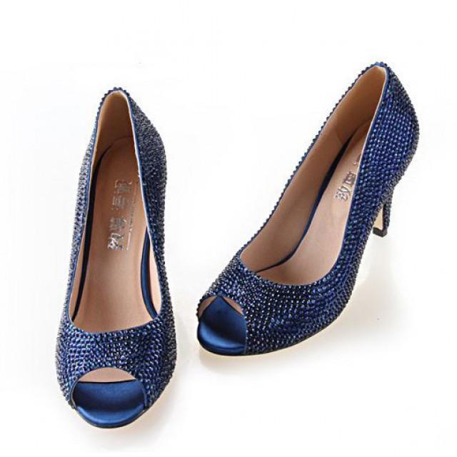 Navy Blue Crystal Rhinestone Wedding Shoes Party Prom Peep Toe Pumps 2224921