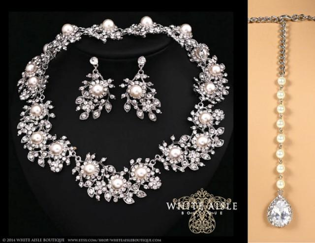 Pearl Wedding Jewelry Set Vintage Inspired Pearl Bridal Jewelry Set Pearl Bracelet Pearl