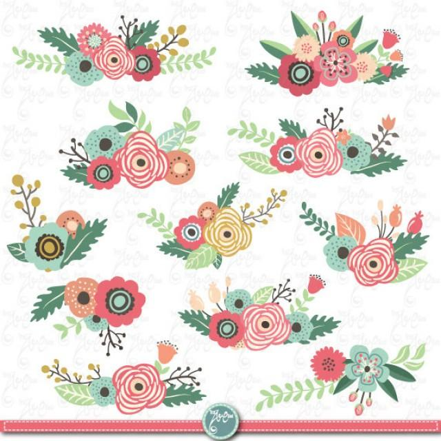 "Flowers Clipart Pack ""FLOWER CLIP ART"" Pack,Vintage Flowers,Spring ..."