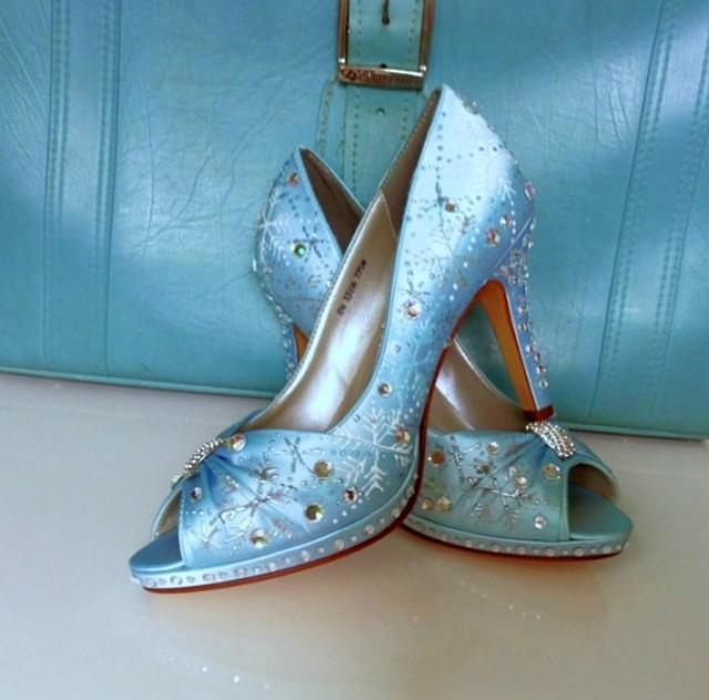 Blue Wedding Shoes Blue Sparkle Shoes Custom Silver Soles Silver Snowflakes Winter Wedding