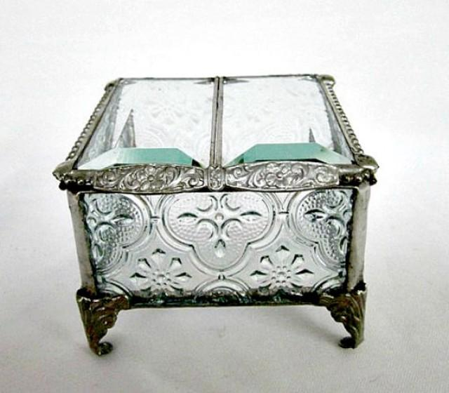 Silver, Vintage Inspired, Stained Glass Jewelry Box, Ring