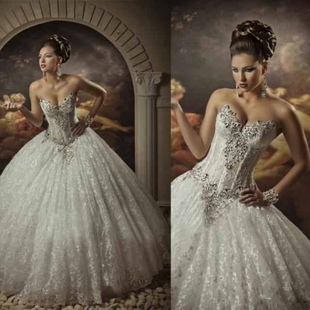 Royal Dramatic Sexy Sweetheart Ball Lace Bling Crystals Beaded See Through Corset Wedding Dresses For Brides
