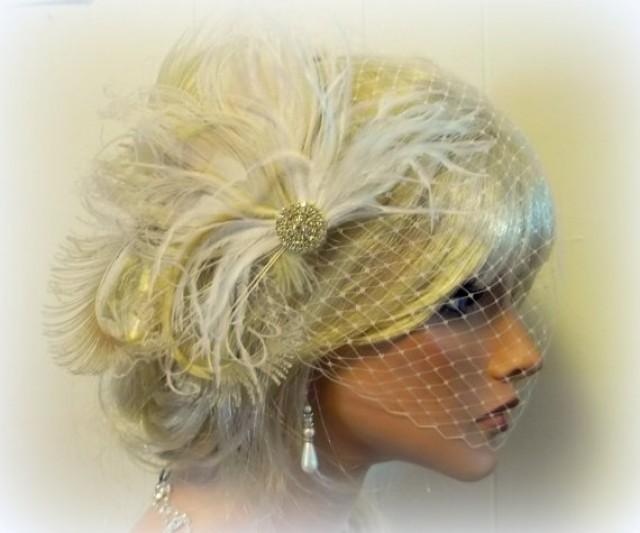 Ivory and Champagne Fascinator Bridal Fascinator Feather Fascinator Bridal Feather Fascinator with Brooch Bridal Veil Hair Clip