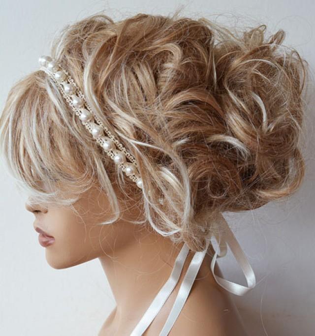 Bridal Pearl Headband Lace Ivory Pearl Wedding Head Piece Bridal