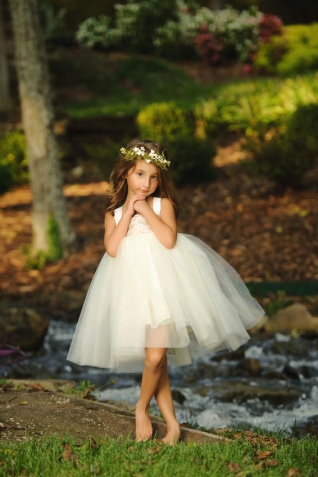 Flower Girl Dress--Burlap And Lace Wedding--Woodland Fairy ...