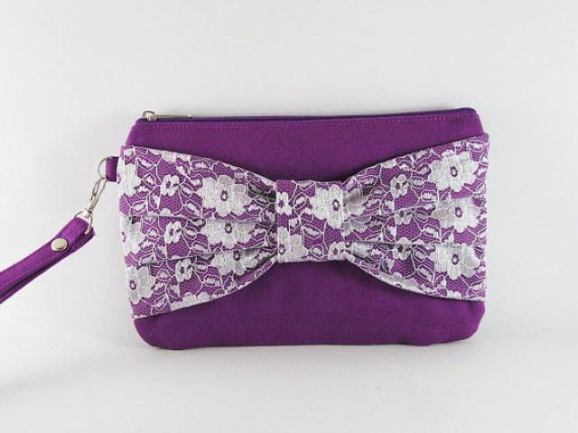 SUPER SALE - Eggplant Purple Lace Bow Clutch - Bridal Clutches Bridesmaid Wristlet Wedding ...