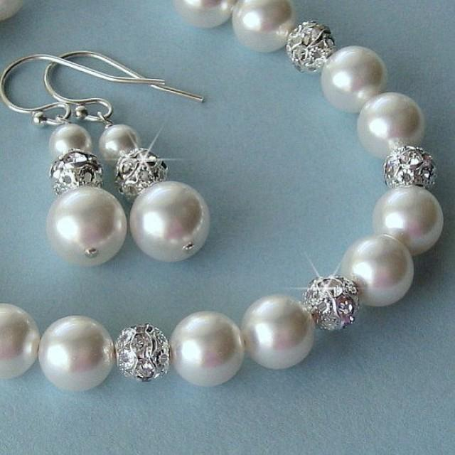 Bridal Pearl Bracelet And Earrings Set Crystal Drop Wedding Jewelry By Janicemarie 2225975 Weddbook