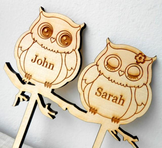 Owls Wedding Cake Topper, Personalized Wooden Cake Topper, Custom ...