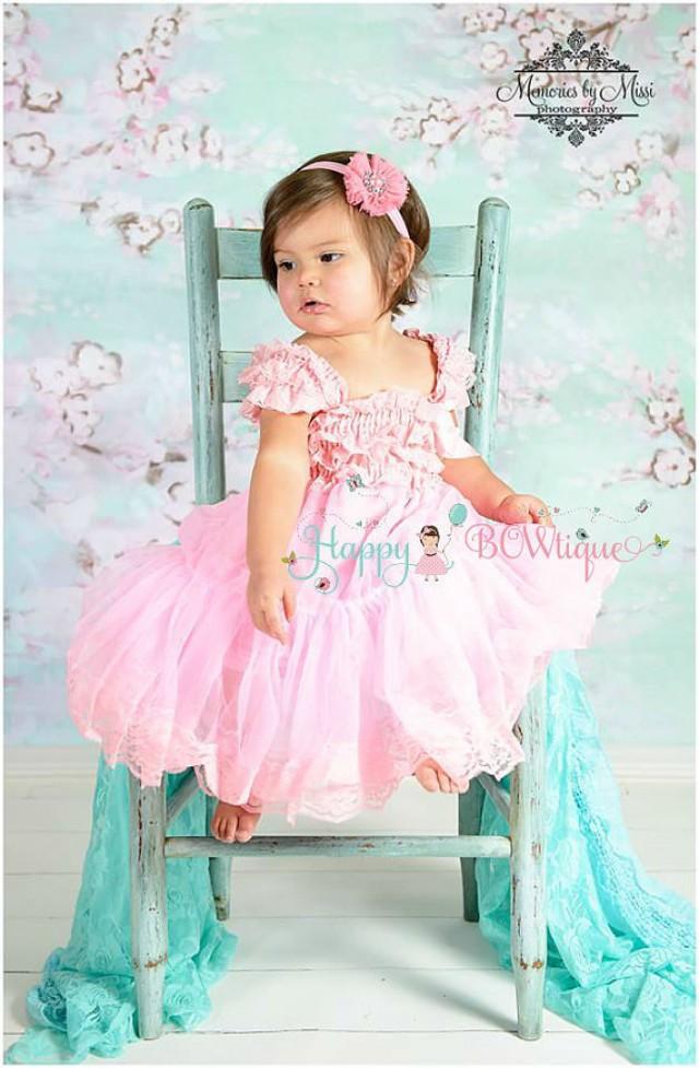 wedding photo - Flower girl dress, Baby Pink Chiffon Lace Dress,Girls dress,baby Flower girl,Birthday dress, flower girl lace dress,Pink dress,baby Wedding