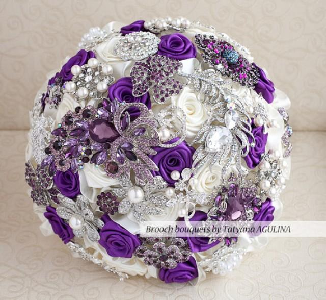 Purple Ivory And Silver Wedding Brooch Bouquet Jeweled 2226575