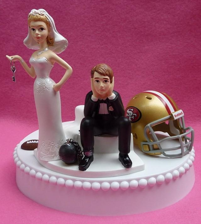 Wedding Cake Topper San Francisco 49ers SF Football Themed Ball And Chain Key W Garter Display Box