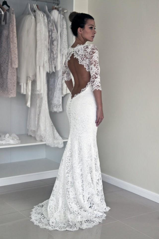 Wedding Dress With Lace Sleeves : Keyhole back wedding dress in corded french lace