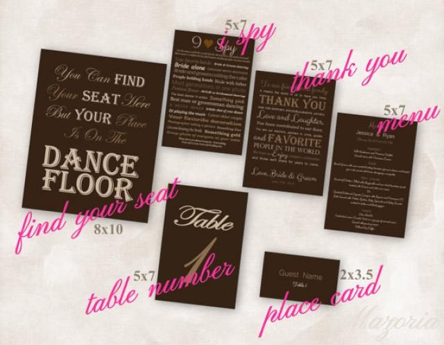 Wedding Reception SET Of 6 Cards Thank You Place Menu I Spy Seating And