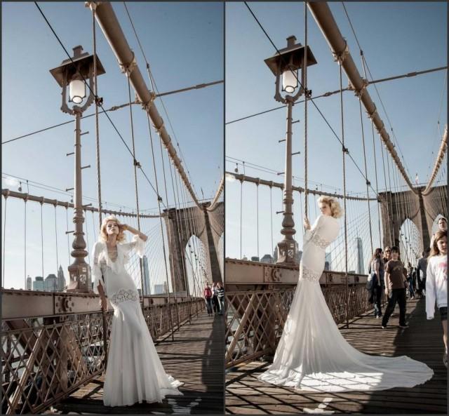 2015 Spring Pnina Tornai 3/4 Long Sleeve Fall Wedding Dresses ...